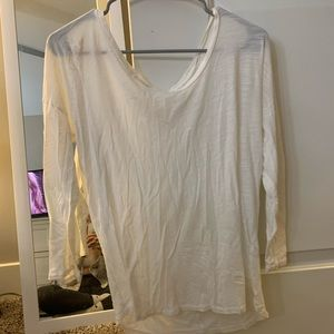 j crew white 3/4 sleeve shirt